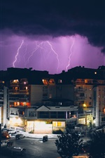 Preview iPhone wallpaper City, night, storm, lightning, buildings