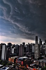Preview iPhone wallpaper Cityscapes, Chicago, dark clouds, city, USA