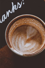 Preview iPhone wallpaper Coffee, cup, card, thanky