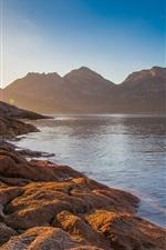 Preview iPhone wallpaper Coles bay, Tasmania, Australia, sea, mountains, sun