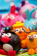Preview iPhone wallpaper Colorful cartoon clay kids, toys