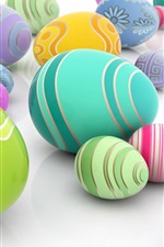Preview iPhone wallpaper Colorful eggs, white background, Easter