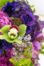 iPhone fondos de pantalla Flores coloridas, ramo, hortensias, orquídeas, anémonas