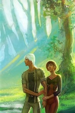 Preview iPhone wallpaper Couple, girl and boy, forest, art picture