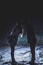 Preview iPhone wallpaper Couple love kiss, night, snowfall, snow