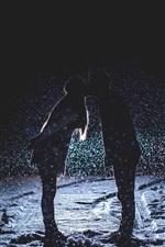 Couple love kiss, night, snowfall, snow