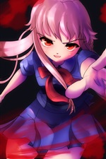 Preview iPhone wallpaper Crazy anime girl, knife, blood
