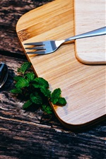 Preview iPhone wallpaper Cutting board, fork, spoon, mint leaves