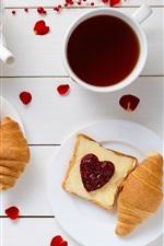 Preview iPhone wallpaper Delicious breakfast, tea, bread