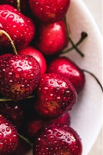 Delicious cherries, water drops, fresh fruit