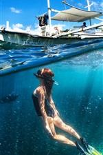 Preview iPhone wallpaper Diving girl, underwater, boat, sea