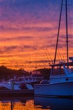 Dock, yachts, boats, sunset