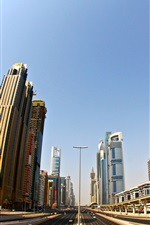 Dubai, skyscrapers, road, city, buildings