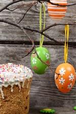 Ovos de Páscoa, coloridos, galhos, vaso