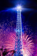 Preview iPhone wallpaper Eiffel Tower, holiday night, lights, fireworks, France