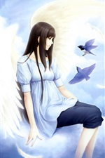 Preview iPhone wallpaper Fantasy angel girl, sky, clouds, birds