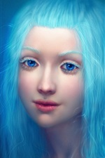 Preview iPhone wallpaper Fantasy girl, blue hair and eyes, eyebrows