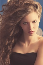 Preview iPhone wallpaper Fashion girl, curly hair, face, glare