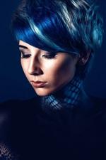 Vorschau des iPhone Hintergrundbilder Mode Mädchen, Make-up, dunkelblauen Hintergrund