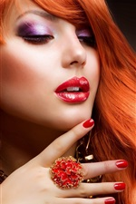 Preview iPhone wallpaper Fashion red hair girl, red lips, ring, sexy