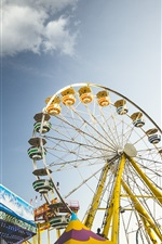 Preview iPhone wallpaper Ferris Wheel, entertainment, city, sky