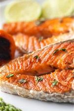 Preview iPhone wallpaper Fish slice, pepper, food