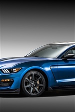 Preview iPhone wallpaper Ford Mustang Shelby GT350R blue supercar