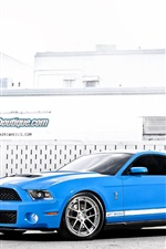 Preview iPhone wallpaper Ford Mustang Shelby GT500 blue supercar side view