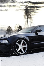 Preview iPhone wallpaper Ford Mustang black car side view, snow, winter