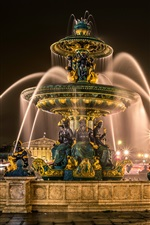 Preview iPhone wallpaper France, Paris, fountain, sculpture, night