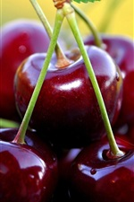 Preview iPhone wallpaper Fresh cherry macro photography, delicious fruit