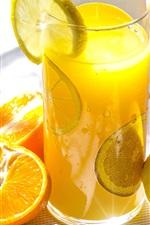Fruit drinks, oranges, lemon, glass cup