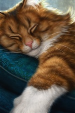 Preview iPhone wallpaper Furry kitten sleeping, pillow, mouse, art picture