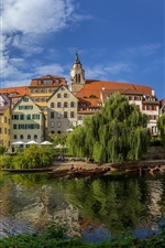 Preview iPhone wallpaper Germany, Baden-Wurttemberg, river, boats, trees, houses