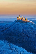 Preview iPhone wallpaper Germany, Hohenzollern castle, mountains, trees, snow, winter