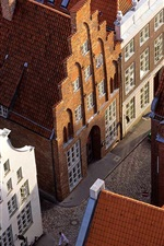 Germany, Lubeck, roof, street, houses, city