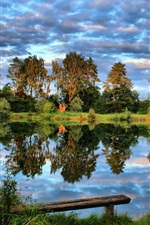 Germany, pond, trees, sky, clouds, nature