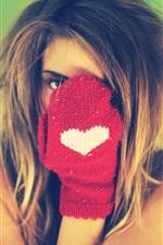 Preview iPhone wallpaper Girl hidden her face, glove, love heart