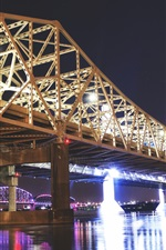 Preview iPhone wallpaper Great Bridge, Louisville, USA, night, lights, river