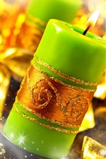 Green candles, flame, fire, gold style, Christmas decoration