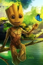 Preview iPhone wallpaper Guardians of the Galaxy 2, Groot, art picture