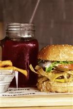 Preview iPhone wallpaper Hamburger, french fries, drinks, fast food