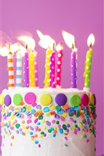 Preview iPhone wallpaper Happy Birthday Cake, candles, flame