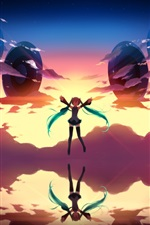 Preview iPhone wallpaper Hatsune Miku, anime girl, sky, clouds, lake, water reflection
