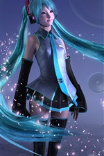 Preview iPhone wallpaper Hatsune Miku, sweet anime girl, blue hair, 3D