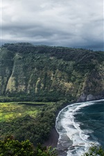 Preview iPhone wallpaper Hawaii, Waipio Valley, beautiful landscape, sea, coast, USA