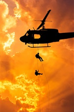 Preview iPhone wallpaper Helicopter flight, dawn, silhouette, soldiers, landing