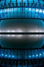 Preview iPhone wallpaper Hemispheric, Valencia, Spain, night, lights, cinema, planetarium, water reflection