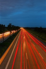 Preview iPhone wallpaper Highway, light lines, night