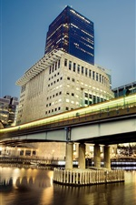 Hong Kong, skyscrapers, river, bridge, lights, city night